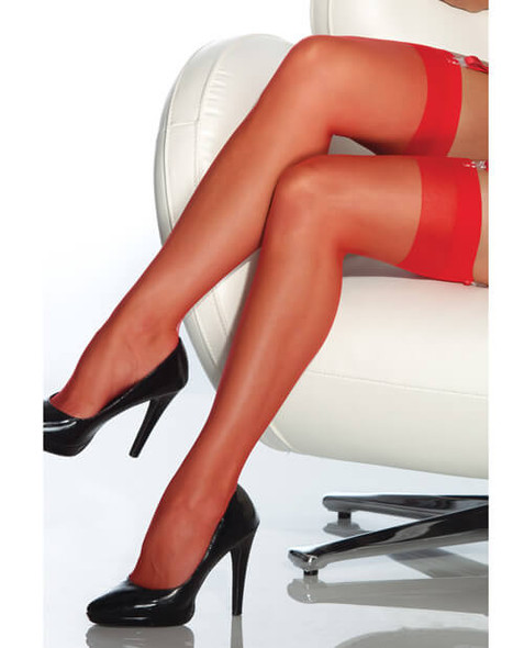 Coquette Sheer Thigh-High Stockings - Red