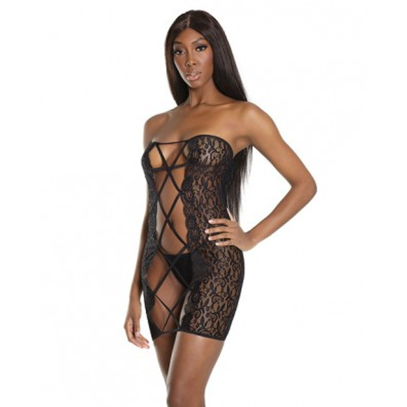 Sheer Lace Tube Dress