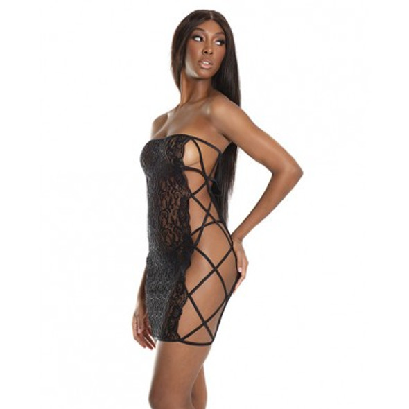 Introducing Coquette's Sheer Lace Tube Dress. Black