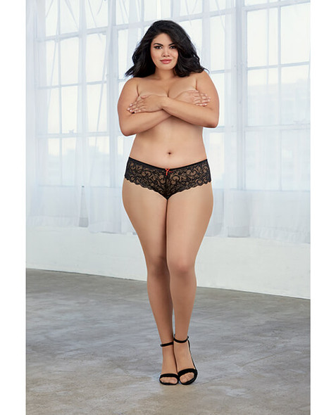 Dreamgirl Queen-Sized Stretch Lace Open Crotch Short - Black