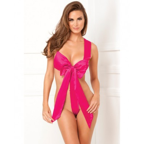 """""""Unwrap Me"""" Sexy Satin Bow Teddy - Hot Pink"""