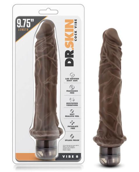 "9.75"" Dark Black Skin Realistic Vibrator from Blush Novelties"