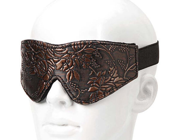 Spartacus Faux Fur Lining Blindfold - Brown Floral Print