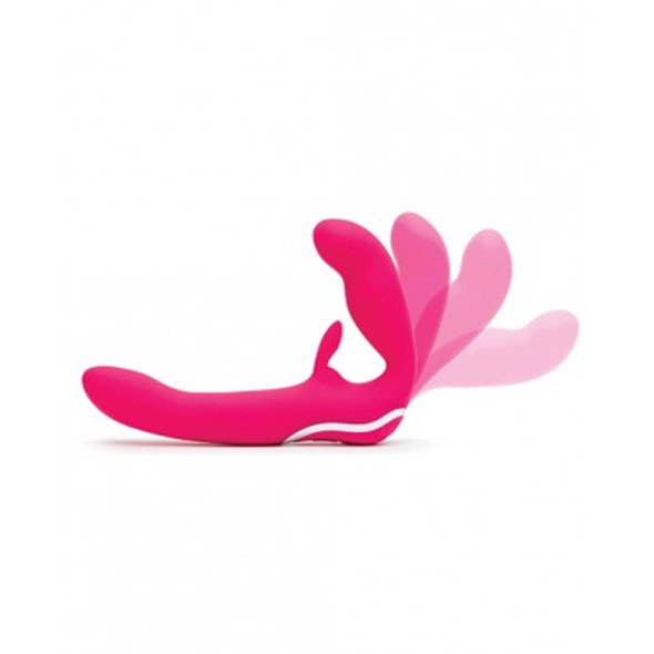 The Happy Rabbit Strapless Strap-on features a flexible bulb