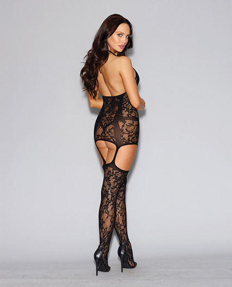 Floral Fishnet Dress with Garter Stockings