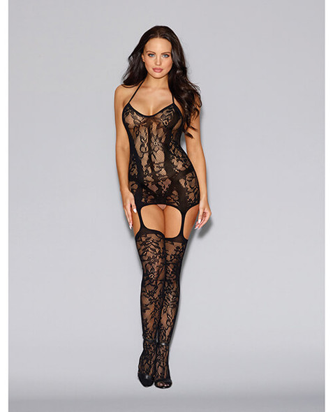 Black Floral Fishnet Dress with Garter Stockings - One Size Fits All
