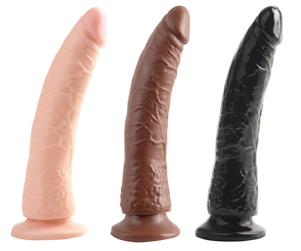 Basix Latex-Free Slimline Dongs  - White, Brown and Black