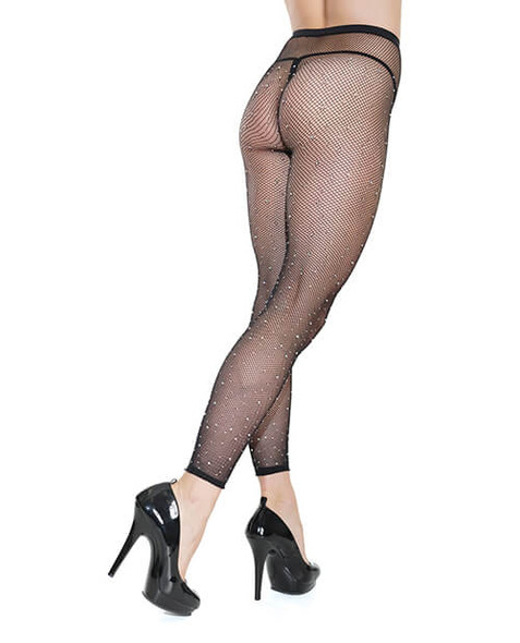 Black Ankle-Length Fishnet Pantyhose - Coquette