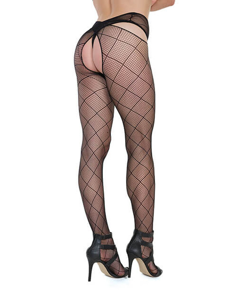 Black Crotchless Diamond Net Fishnet Pantyhose with Strappy Waist Band