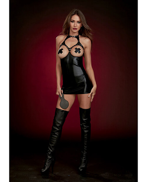 Dreamgirl Fetish Faux-Leather Boob-Out Chemise