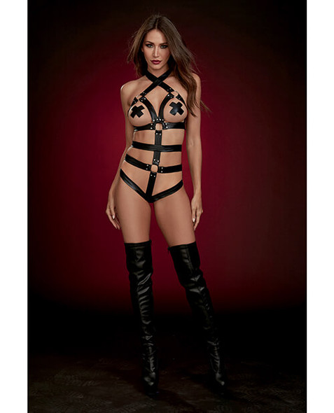 Dreamgirl Fetish Strappy Faux Leather Teddy