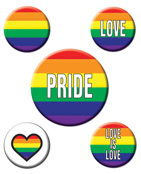 Rainbow Pride Party Buttons - 5 Pack