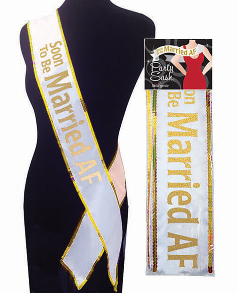 Soon to be Married AF Bachelorette Sash - Gold on White