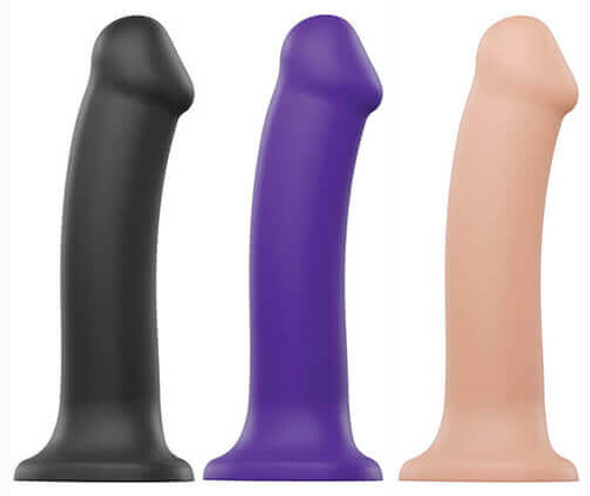 Strap On Me Bendable Silicone Dildos  - Black, Purple, and White