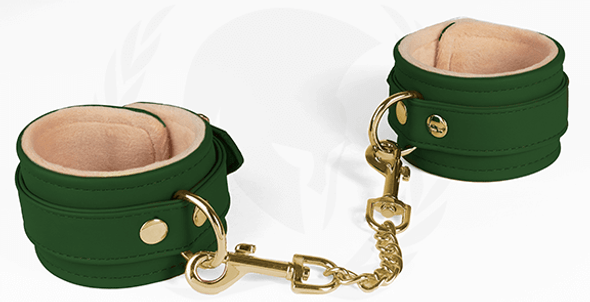 Spartacus Vegan Leather Plush-Lined Ankle Cuffs - Green