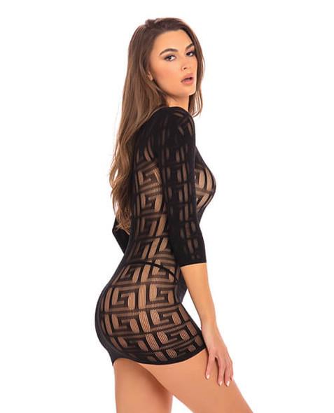 Black Sheer Geometry Mini Dress