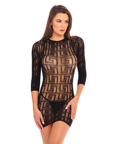 Black Sheer Geometry Mini Dress from Rene Rofe