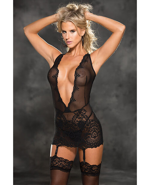 Shirley Deep Plunge Black Lace Chemise With Garters - Black