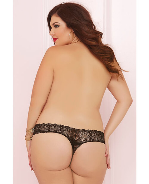 Queen Crochet Lace Crotchless Thong