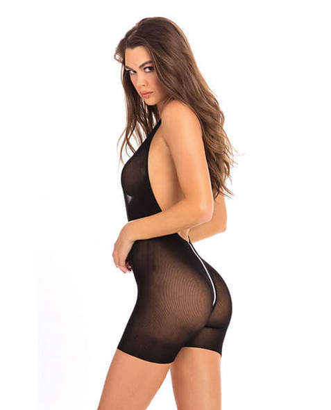 Rene Rofe Black Sheer Zip Bodysuit