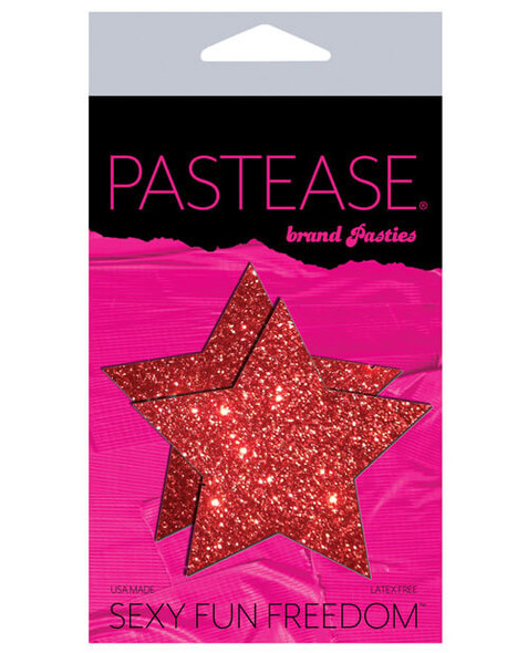 Pastease Adhesive Mini Pasties: Red Glitter Stars