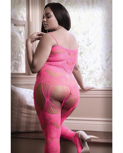 Queen Neon Pink Geometric Net Gartered Bodystocking
