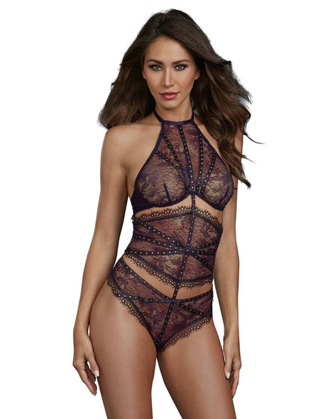 Dreamgirl Eggplant Lace 3 Piece Teddy Set