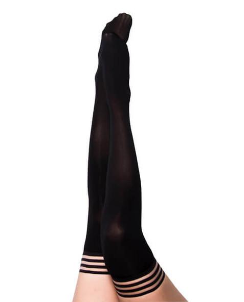 Kixies Danielle Opaque Thigh-High Stockings - Solid Black