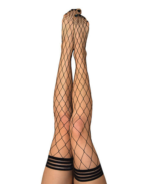 Kixies Michelle Large Fishnet Thigh-High Stockings - Black