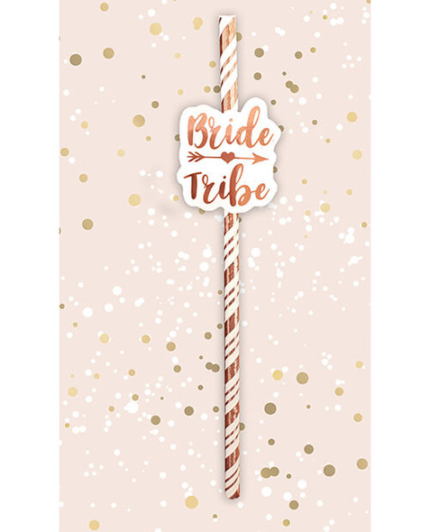 Bride Tribe Rose Gold Party Straws 6-Pack