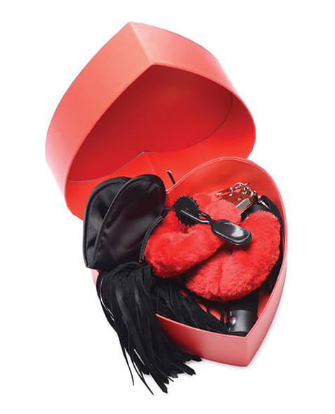 Frisky Passion Fetish Gift Set with Heart Shaped Box - Red