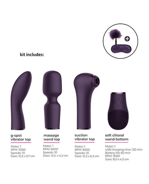 Four vibrator attachments offer erotic variety