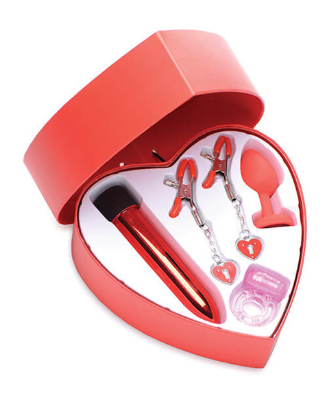 Frisky Passion Red Valentine Gift Set with Heart Shaped Box