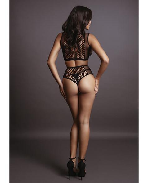 Shots Le Desir Duo Black Net Keyhole Bra & High Waist Panty