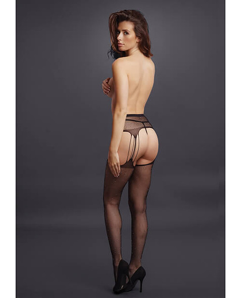 Shots Le Desir Black Net Rhinestone Suspender Stockings