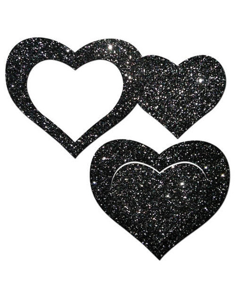 Black Glitter Cut-Out Hearts Pasties from Pastease