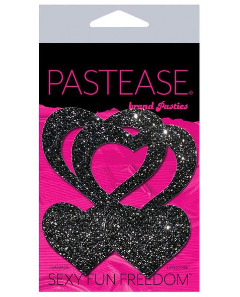Pastease Glitter Adhesive Nipple Pasties: Peek-A-Boo Black Hearts