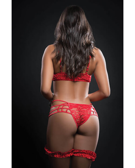 Red Lace Caged Teddy & Garters
