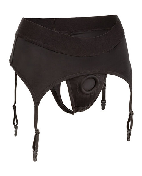 Boundless Thong Harness with Garters - Black
