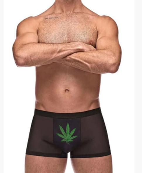 "Male Power ""Private Screening"" Pot leaf Mesh Shorts - Black"