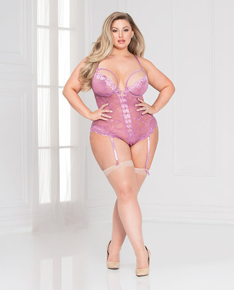 Queen Mauve Lace Underwire Cup & Snap Crotch Garter Teddy - 1X/2X and 3X/4X