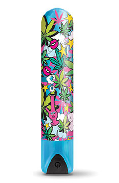Buzzed Cannabis-Print Rechargeable Bullets - Stoner Chick Blue