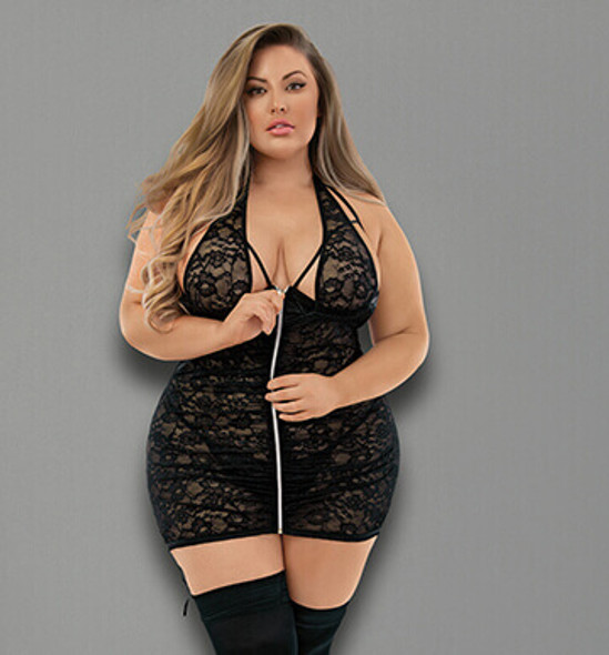 Euphoria Black Lace Zipper Chemise Set with Stockings - Queen Sized