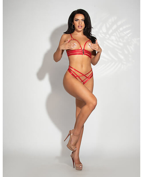 Red Strappy Open Cup Bra & Open Crotch Panty - Seven Til Midnight