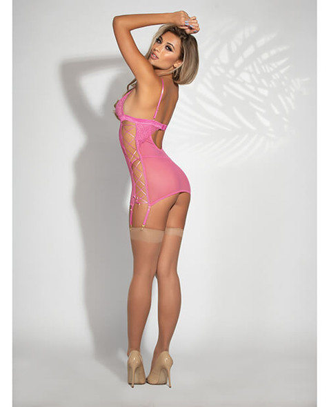 Pink Mesh & Lace-Up Sides Garter Chemise with Panty