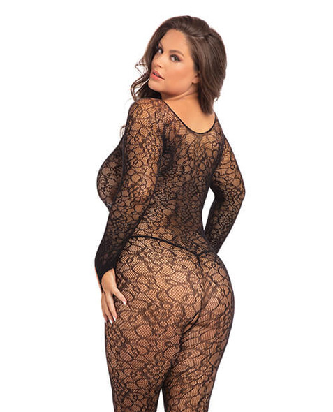 Rene Rofe Crotchless Tie-Front Lace Bodystocking - Queen