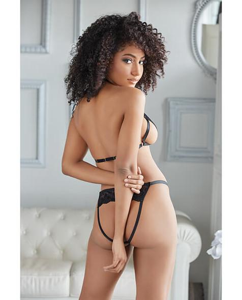 Allure Paris Lace Peek Bralette & Open Panty