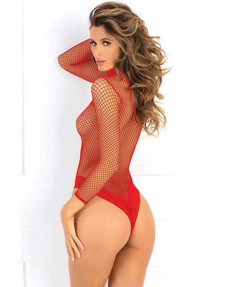 Red Fishnet Teddy with Thong Back
