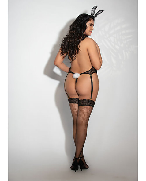 Black Lace Sexy Bunny Queen Teddy Set