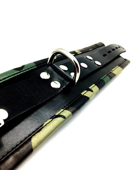 Our Leather Padded Wrist Cuffs with Camo Trim feature heavy-duty D-rings